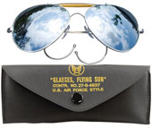 Air Force Style Mirrored Lens Sunglasses With Case