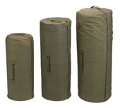 Giant Canvas Military Duffle Bags - Side Zipper Olive Drab Duffles
