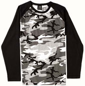 City Camouflage Shirts Raglan Long Sleeve Camo T-Shirts 3XL