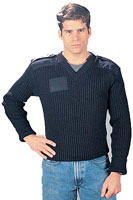 Wool Military Sweaters - Navy Blue V-Neck Sweaters