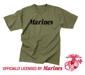 Military T-Shirts - Olive Drab Marines Logo T-Shirt 3XL
