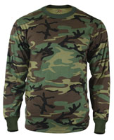 Camouflage Shirts - Woodland Camo Long Sleeve Shirt 4XL