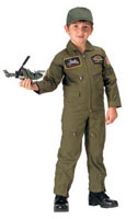 Kids Top Gun Military Flight Coveralls With Insignia Patches