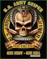 Military T-Shirts Black Ink US Army Sniper Shirt 3XL