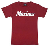 Military Shirts Womens Marines Logo Red T-Shirt