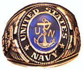Military Rings Deluxe Engraved 18KT Gold Electroplate Rings Navy