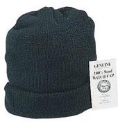 Genuine Military USN Wool Watch Caps - Black Cap