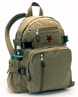 Military Backpacks Khaki Vintage Star Mini Backpack