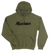 Marines Sweatshirts Olive Drab Marines Logo Hooded Sweatshirt 2XL