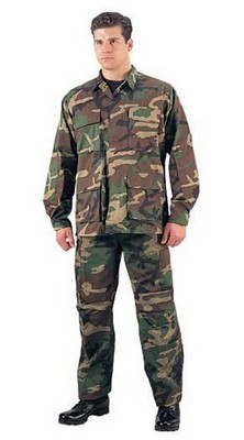 Camouflage Military Fatigues (BDU's) Woodland Camo Shirts
