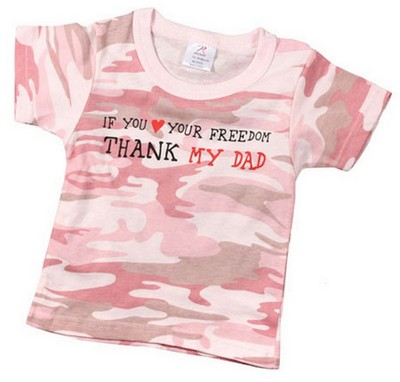 Infant S Pink Camo Tee Thank My Dad For Freedom Army Navy