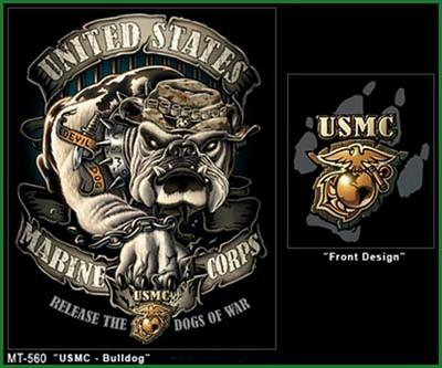 Military T Shirts Black Ink Usmc Bulldog Shirt 3xl Army