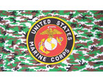 USMC Flag Round Seal On Camo Field 3X5