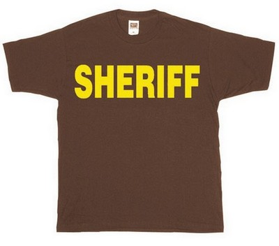 Sheriff Logo T Shirt Brown With Gold Army Navy Shop
