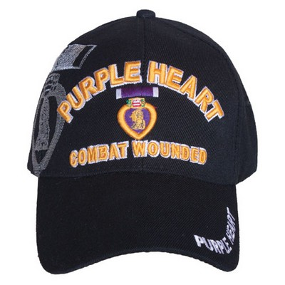 Embroidered Ball Cap Purple Heart Black Army Navy Shop