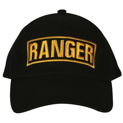 Embroidered Ball Cap Ranger Black Army Navy Shop